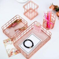 Rose Gold Metal Wire Desk Basket
