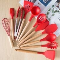 Red silicone kitchen utensil set 12pcs