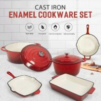 Cast Iron Enameled Cookware Set
