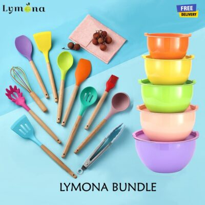 Colorful Bundle Mixing Bowl 5pcs with Silicone Kitchen Utensil 12pcs